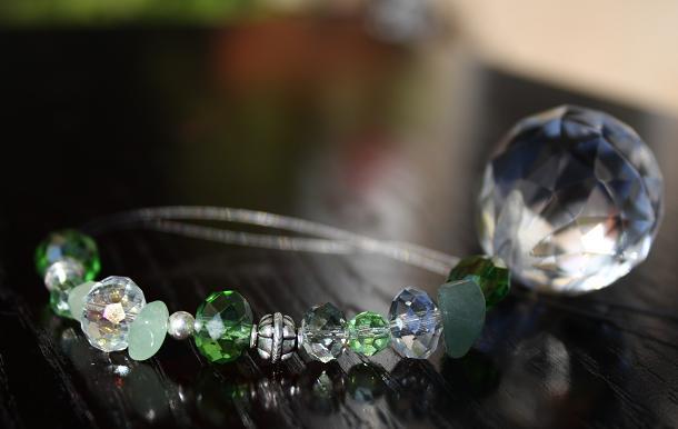 Jeweled Swarovski Crystal Car Charm..Green