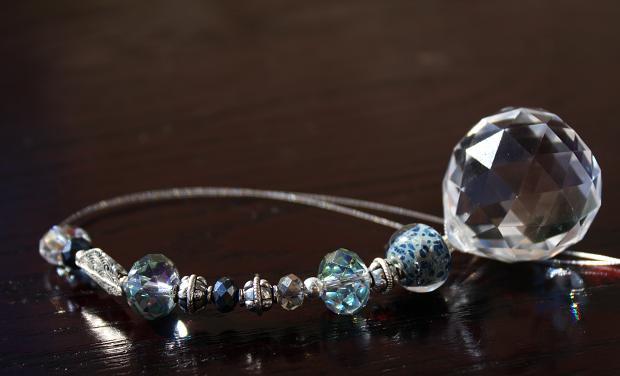 Jeweled Swarovski Crystal Car Charm..Blue