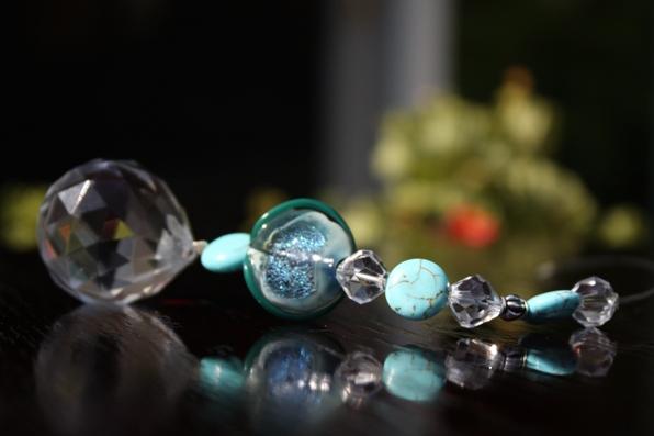 Jeweled Crystal Car Charm... OCEAN SWIRL
